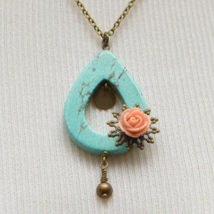 Turquoise & Pink Rose Necklace
